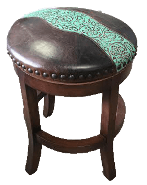 Cowgirl Country Western Bar Stool with genuine smooth leather and embossed leather accent