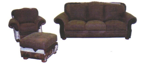 Country Western Cowhide & Full Grain Leather Sofa, Chair and Regular Ottoman