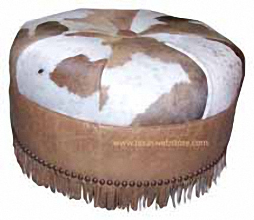 "Cowhide, Hair on Hide Round 30"" Ottoman with fringe"