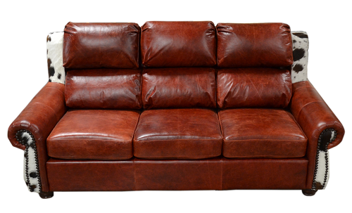 Western Smooth Leather and Cowhide Couch