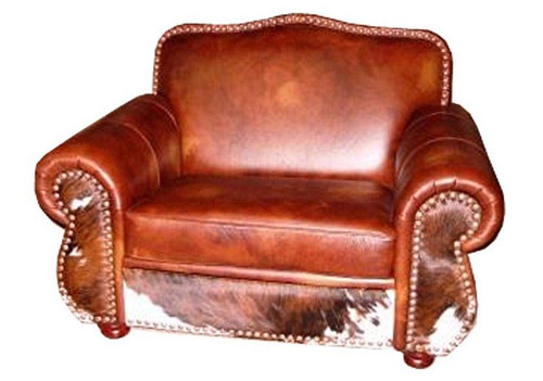 Hair on Hide and Leather Western Chair and a Half