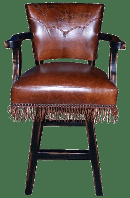 Western Bar stool, Cowboy bar stool with yoke and fringe