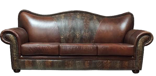 Western Style Dark Brown Smooth Leather with Chocolate Embossed Leather Accents Couch