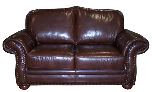Country Western Genuine Full Grain Leather Love Seat