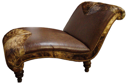 Country Western Genuine Leather and HOH Cowhide Chaise Lounge