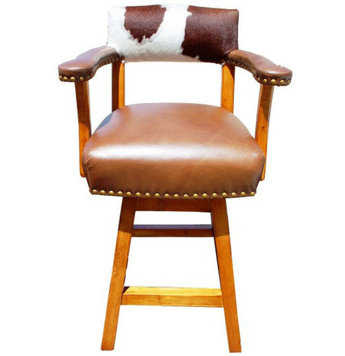 CASINO BROWN AND WHITE COWHIDE - TAN LEATHER SEAT, ARMS AND OUTSIDE BACK Bar Stools