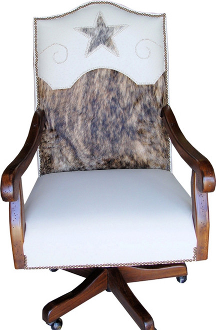Brindle Cowhide and White Leather Executive Swivel  Desk Chair