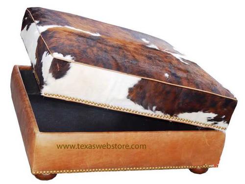 Prestonwood 40 x40  Cowhide Storage Ottoman