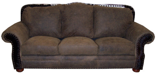 Country Western Cowhide & Full Grain Leather Love Seat with cowhide accent