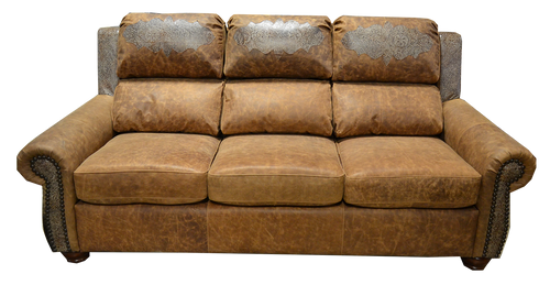 Country Western Genuine Leather Sofa with Embossed Leather Accent