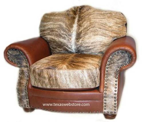 Country Western Cowhide and Leather Log Cabin Chair