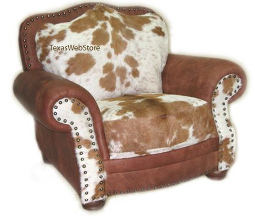 Country Western Mountain Lodge Cowhide and Leather Chair