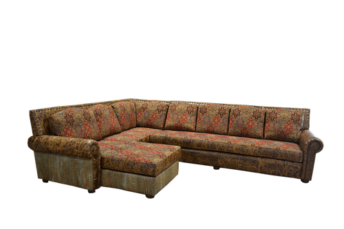 Rustic Full Grain Embossed Leather and Fabric Sectional with Chaise
