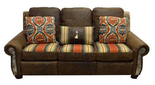 Southwestern Style Couch with Cowhide and Genuine Full Grain Leather