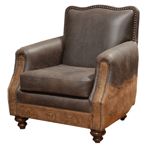 Country Western Rustic Easy Chair Genuine Leather