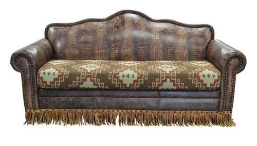 Western Hand Crafted Custom Embossed Leather Sofa