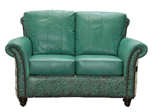 Rustic Genuine Smooth Leather Loveseat