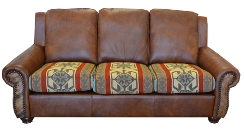 Southwest Fabric Sofa, Full Grain Leather with Cowhide Accent