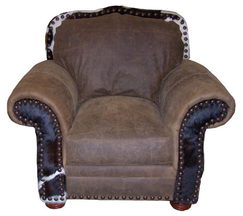 Country Western Cowhide & Full Grain Leather Chair