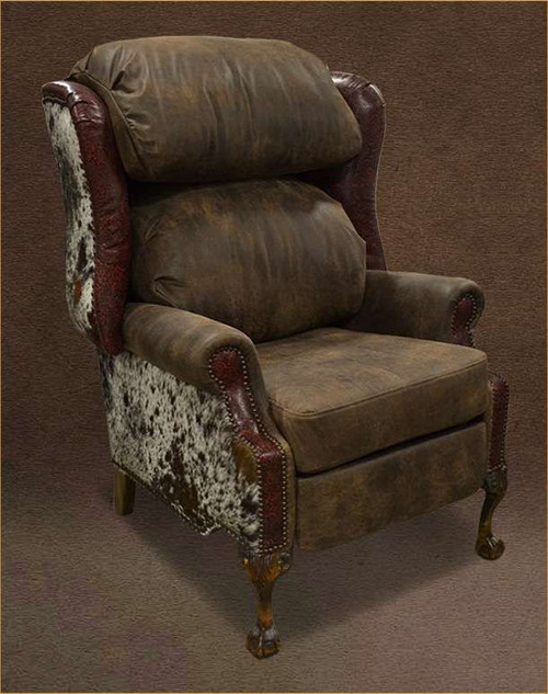 Country Cottage Wing Back Recliner with Cowhide and Genuine Leather