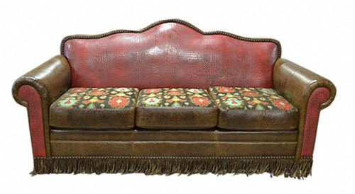 Western Style Red Gator Embossed Genuine Leather Sofa