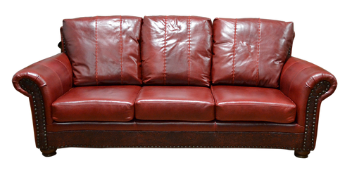 Western Full Grain Smooth Leather Cabin Couch with Lace Stitching