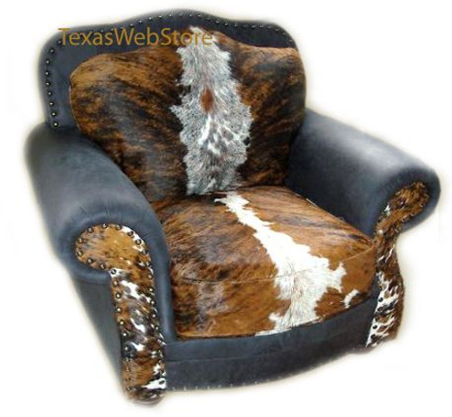 Country Western Log Cabin Cowhide and Leather Chair