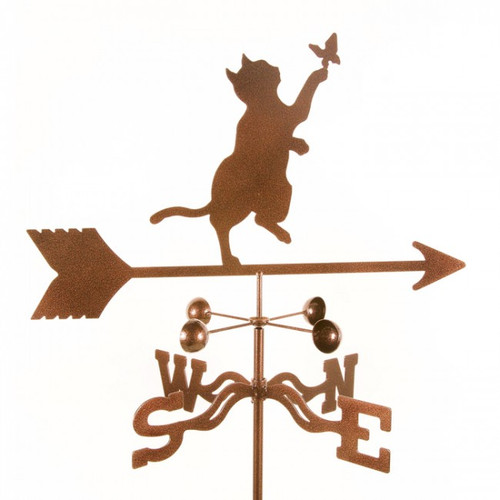 Weathervane of cat chasing butterfly