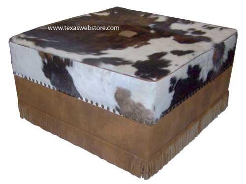 Prestonwood flush bottom Cowhide storage ottoman with fringe