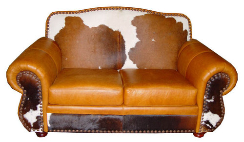 Country Western Hair on Hide Loveseat