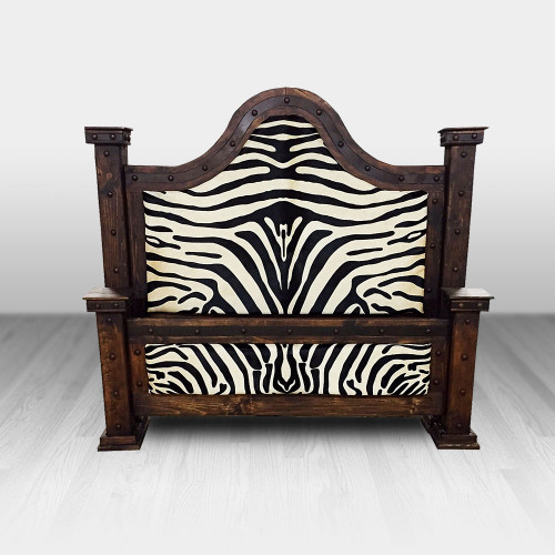 Country Western Camel back Bed with zebra cowhide