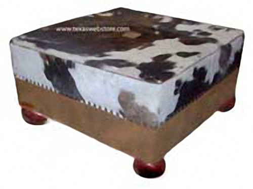 """Prestonwood Rustic Cowhide and Leather Ottoman with feet 40"""" x 40"""""""