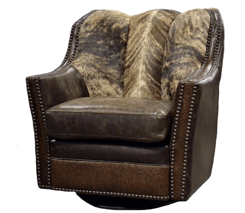 Country Western Rustic Cowhide Glider Swivel Chair