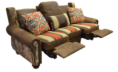 Southwestern Style Couch with Cowhide, Genuine Full Grain Leather and Fabric Double Recliner Couch