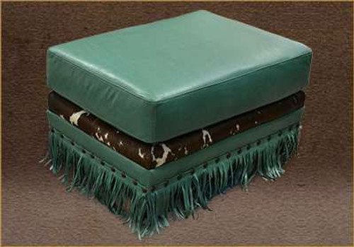 Square Ottoman genuine full grain leather with cowhide accent and fringe