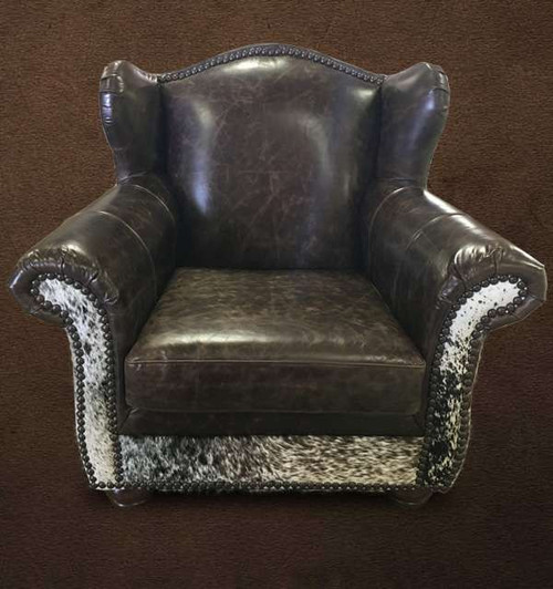 Country Western Cowhide and Leather Wing Chair/Recliner