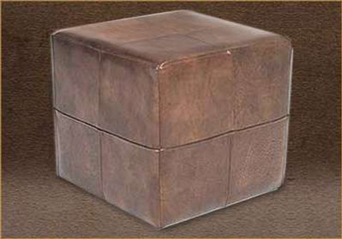 Genuine Leather Cube Ottoman, Footstool
