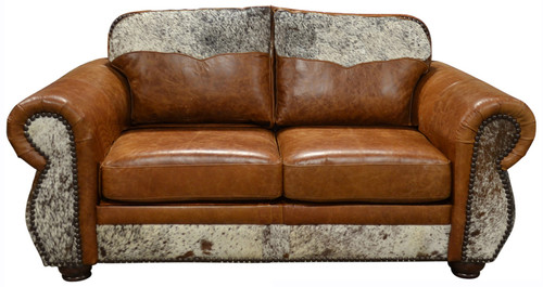 Western Love Seat with Cowhide Yoke