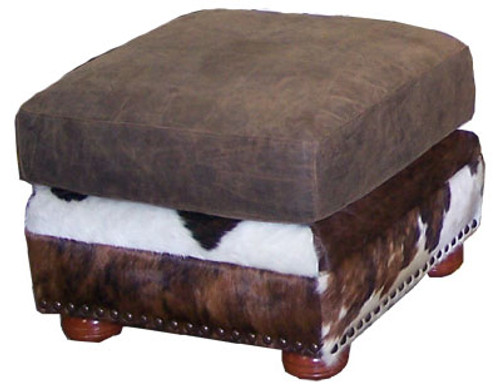 Country Western Cowhide & Full Grain Leather Ottoman