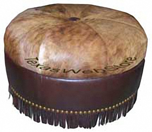 """Cowhide, Hair on Hide 30"""" Round Ottoman with fringe"""