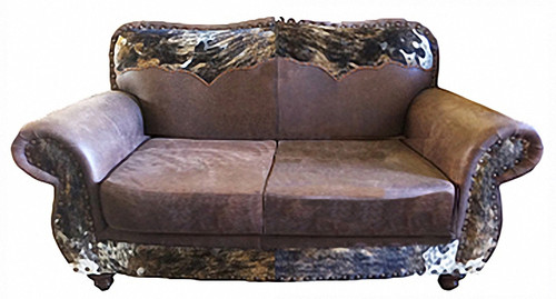 Western Cowhide Love Seat with Cowhide Yoke