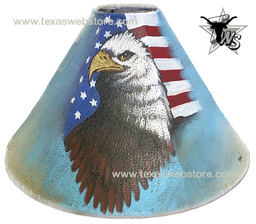 American Eagle and flag leather lamp shade
