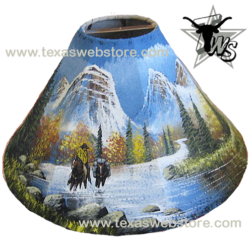 Mountain man on horse leather lamp shades