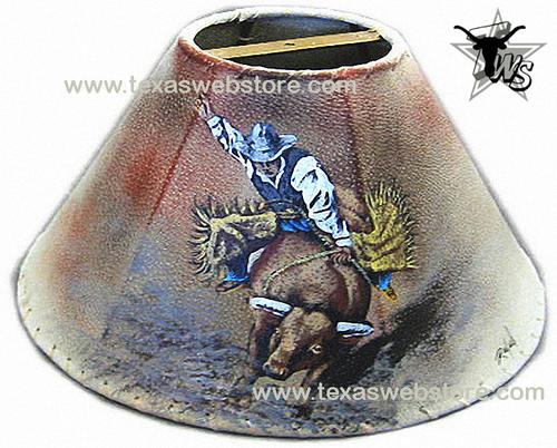 Bull rider leather lamp shade