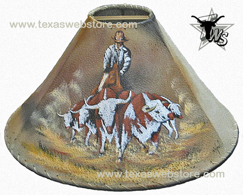 cowboy cattle drive leather lamp shade