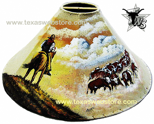 cattle drive leather lamp shade