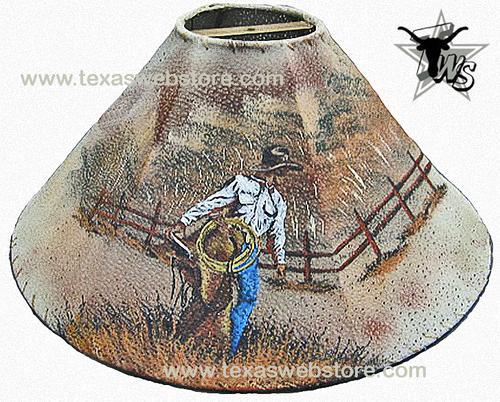 cowboy with saddle leather lamp shade