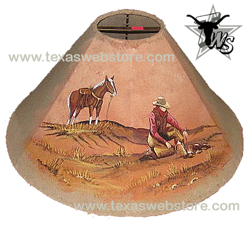 Cowboy Camp hand painted leather lamp shade