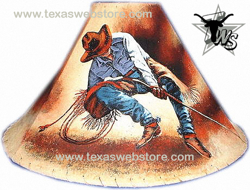 Roper Cowboy hand painted leather lamp shade