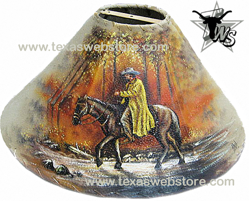 Riding Cowboy hand painted leather lamp shade